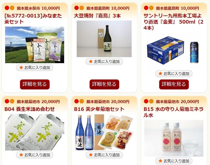 熊本県へのふるさと納税に対する返礼品