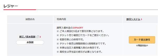 東急カード向けの新江ノ島水族館優待
