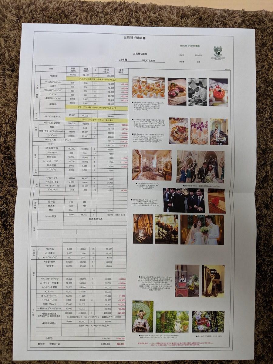 ハートコート横浜の費用見積書(オフシーズン版)