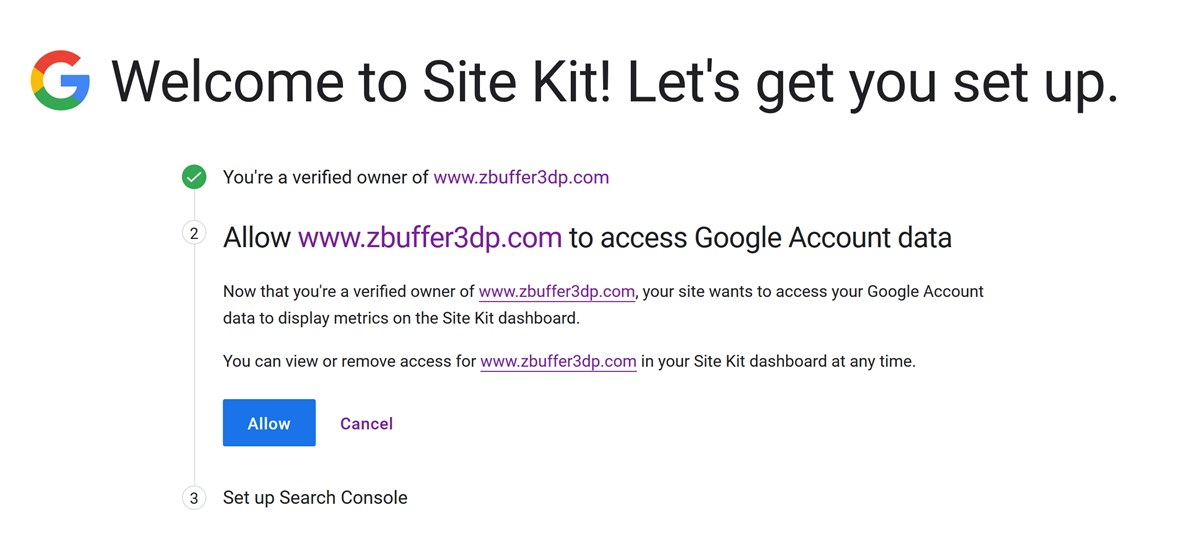 Site Kit by Googleプラグインの初期設定画面