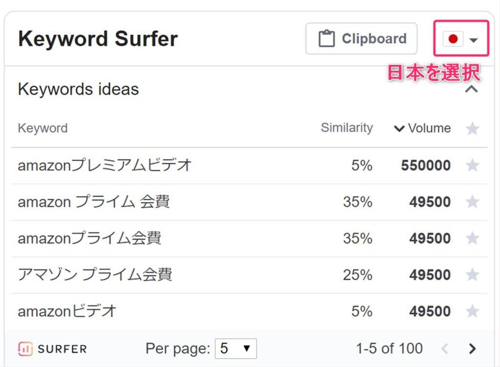 日本のデータを参照するように設定変更