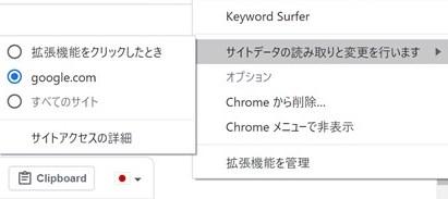 「Keyword Surfer」のオプション設定
