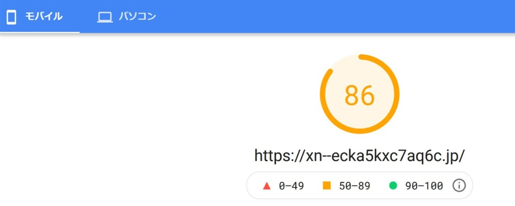 AFFINGER6を使ったブログトップページのモバイル速度スコア