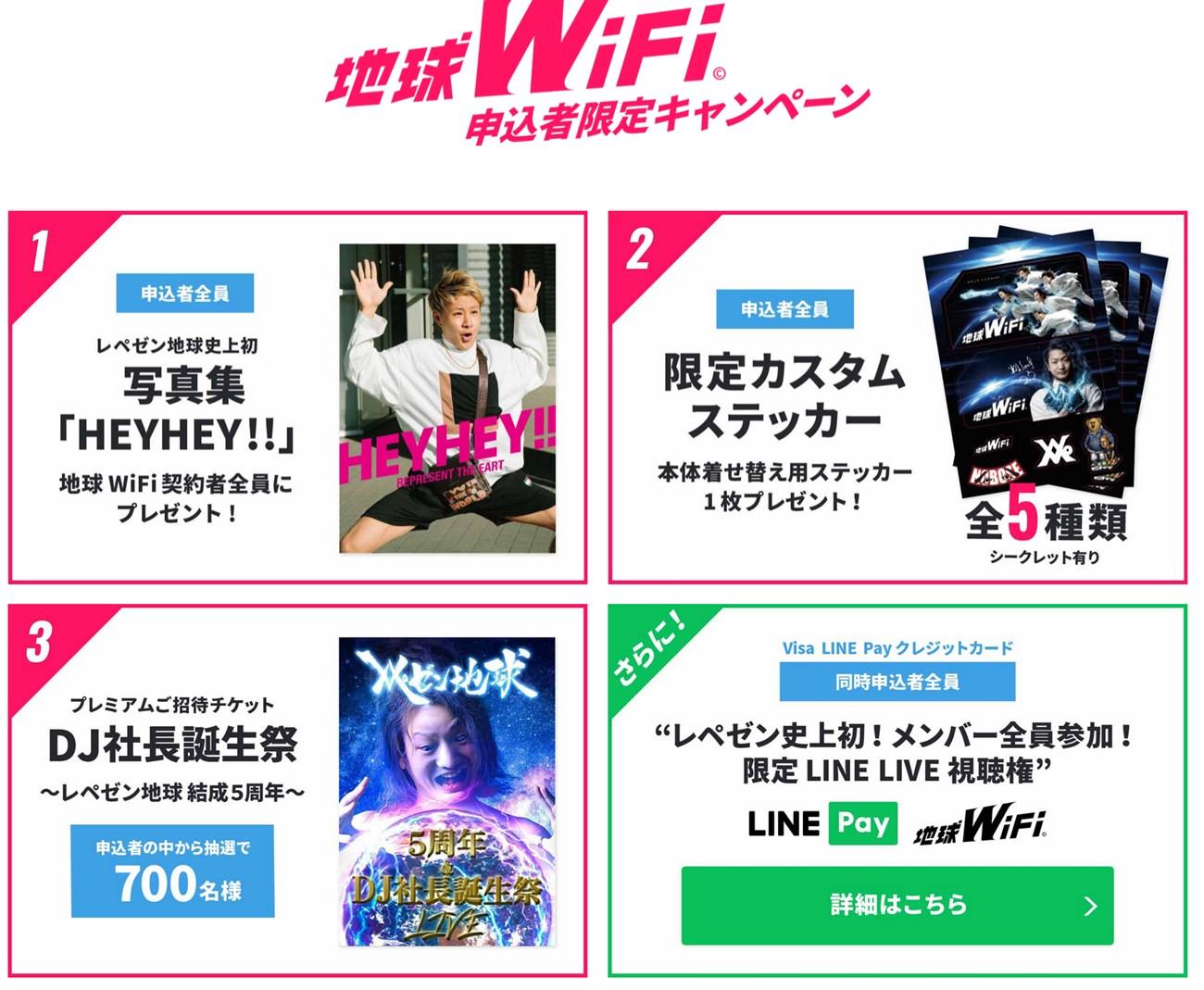 地球WiFiのレペゼン地球に関する特典