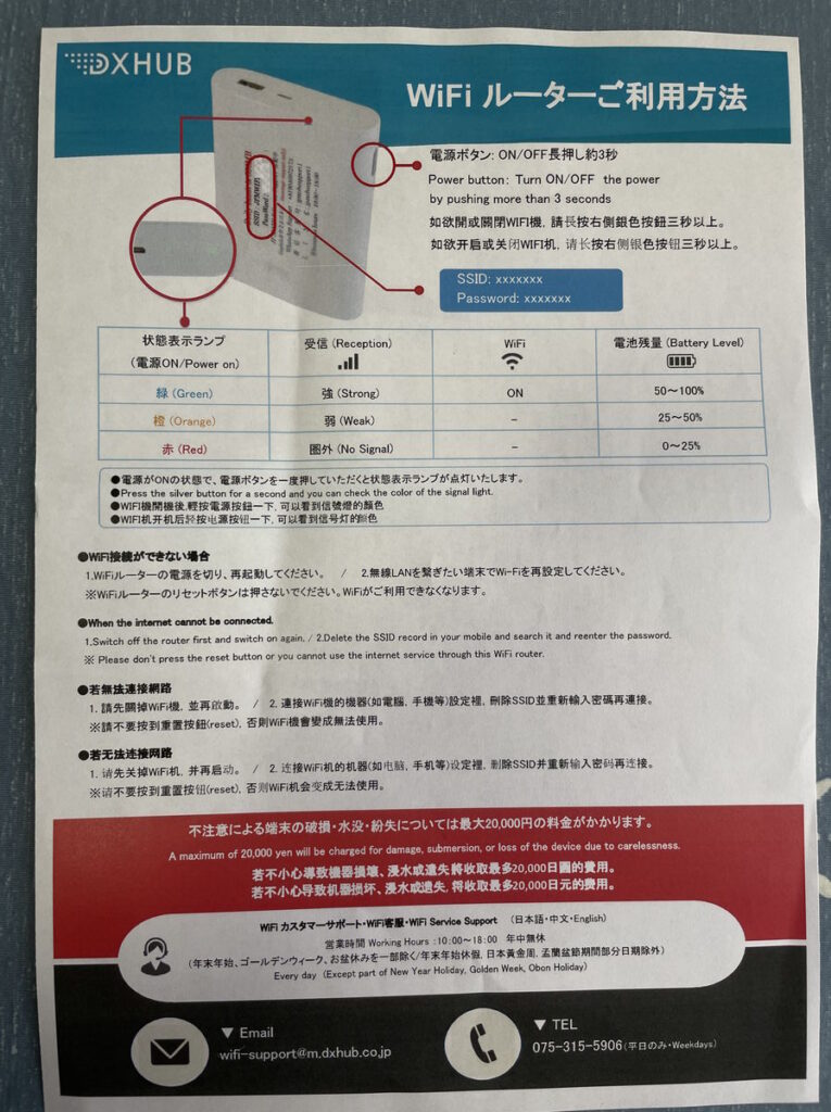 超格安WiFiから届いた機器の取扱説明書