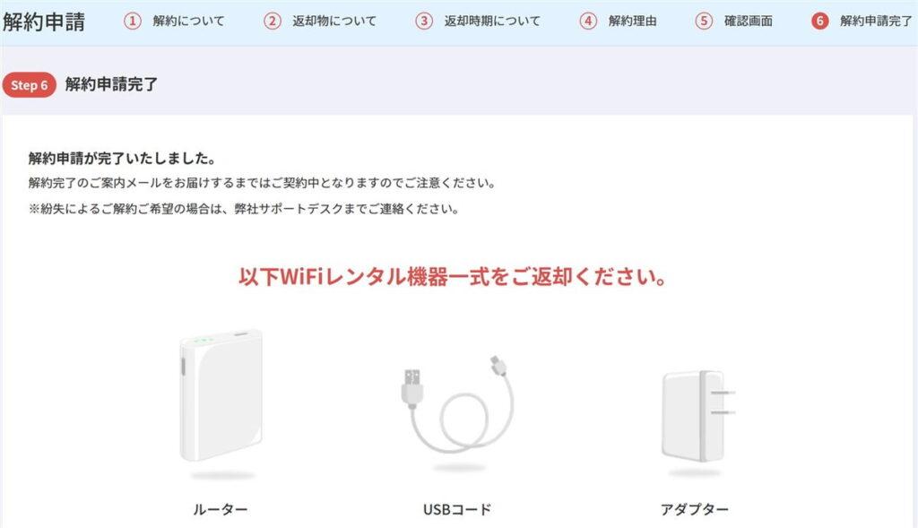 超格安WiFiの解約申請が完了