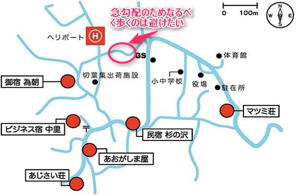 青ヶ島の民宿地図