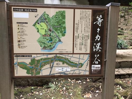等々力渓谷公園内の日本庭園案内