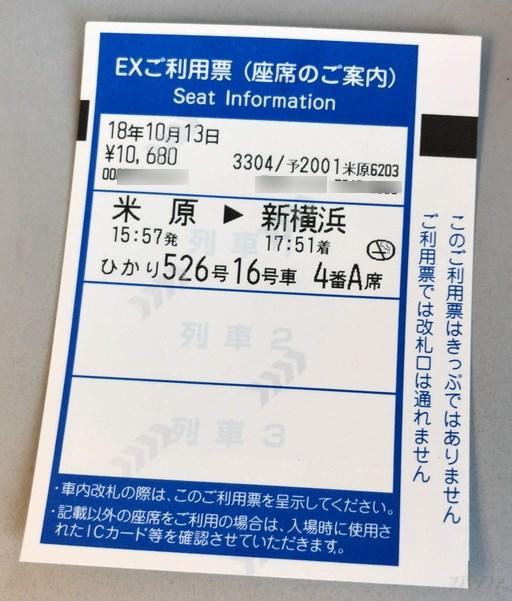 自動改札機から出力されるEX利用票