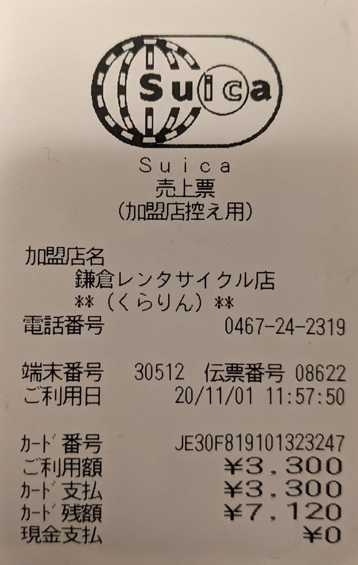 鎌倉レンタルサイクル「くらりん」の領収書