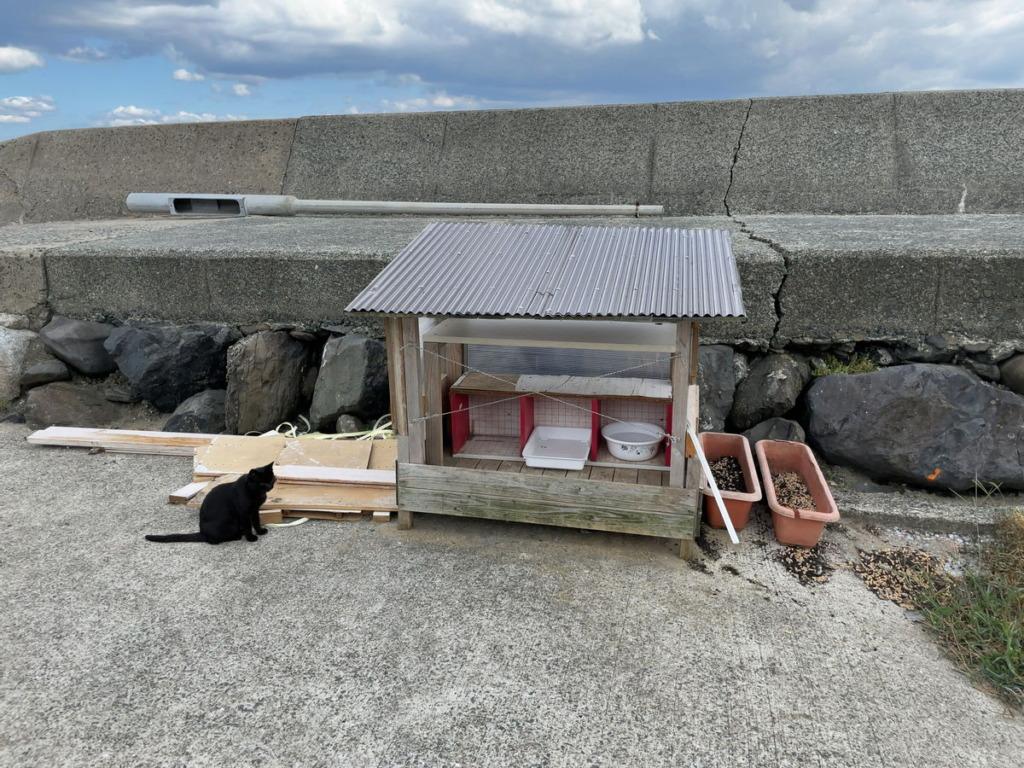 相島の港近くにある猫用の家