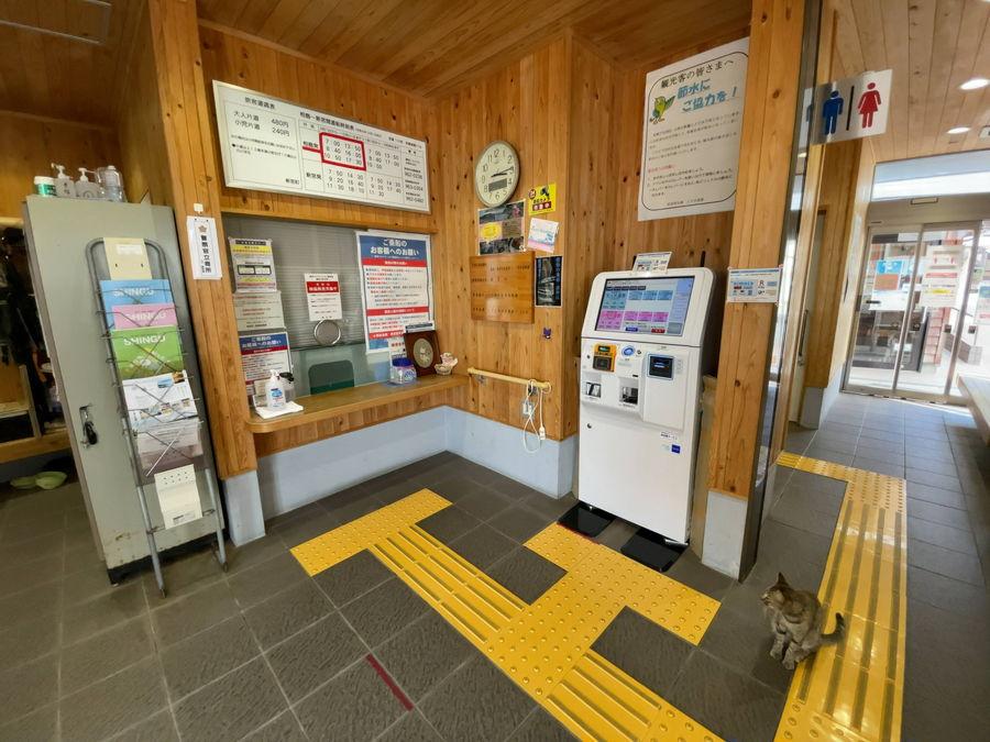 相島にある乗船券売機と猫