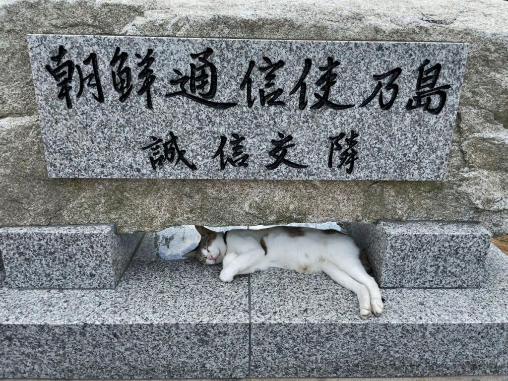 相島の朝鮮通信使乃島記念碑で寝る猫ちゃん