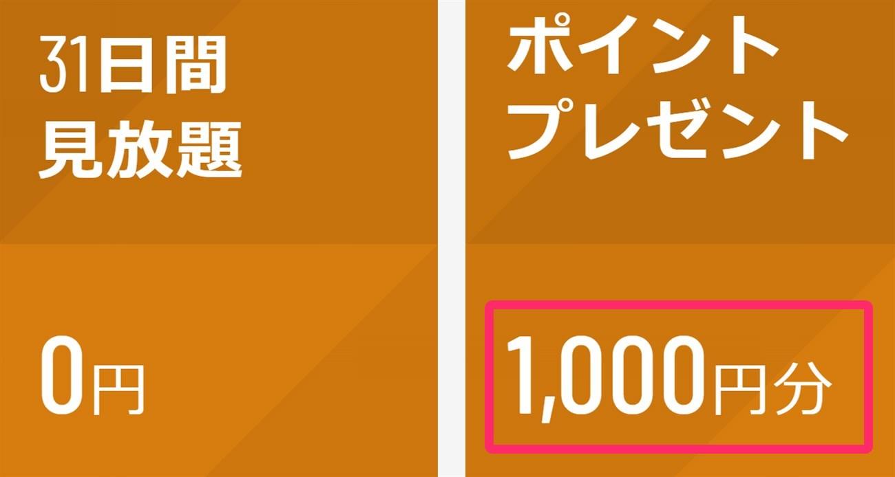 U-NEXT 無料トライアル時に1000ポイント特別付与