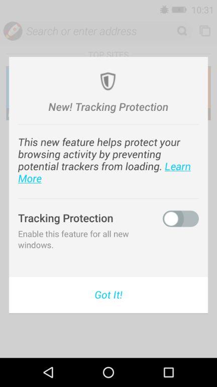 FirefoxOS トラッキング保護機能