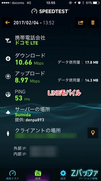 LINEモバイルの休日の通信速度