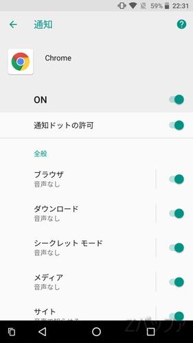 Chromeアプリの通知チャンネル