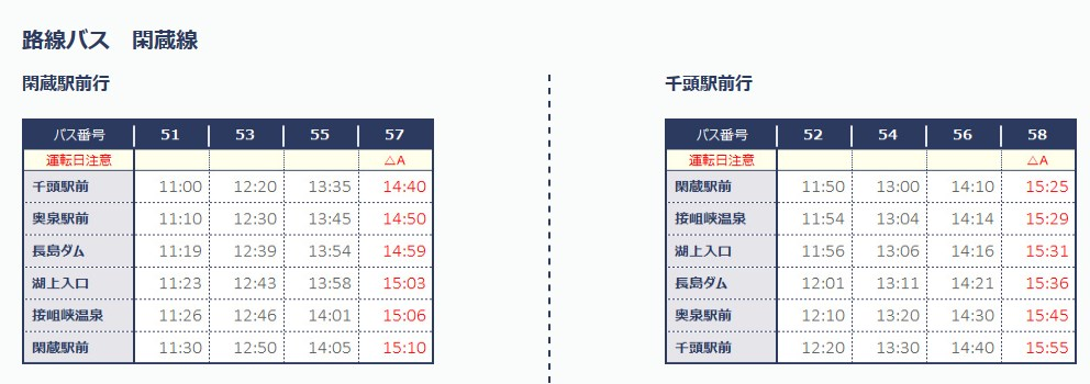 奥大井湖上駅へと向かうバスの時刻表