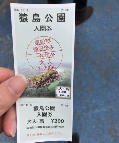 猿島への入場券