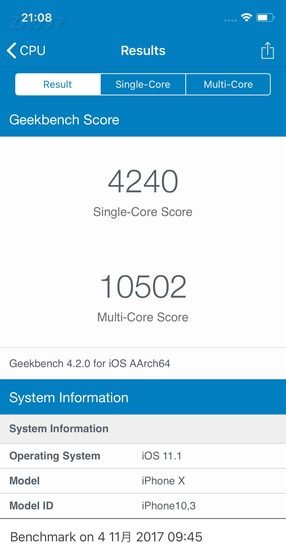 iPhone XのGeekbench4でのベンチマーク結果