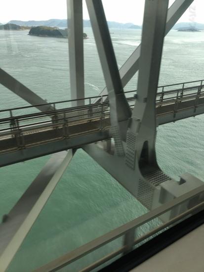 マリンライナーで瀬戸大橋を通過している時の景色