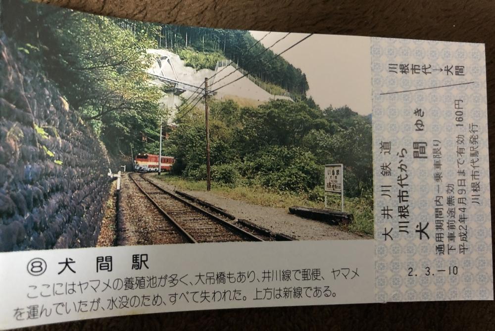 今は水没してしまった大井川鉄道旧線にあった犬間駅の写真