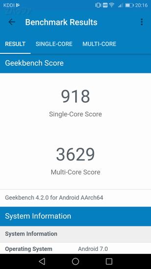 「nova 2」のGeekbench4でのベンチマーク結果