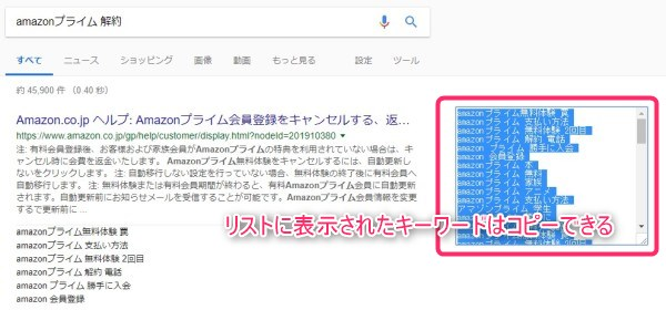 「Extract People also search phrases in Google」で得られたキーワードはコピー可能