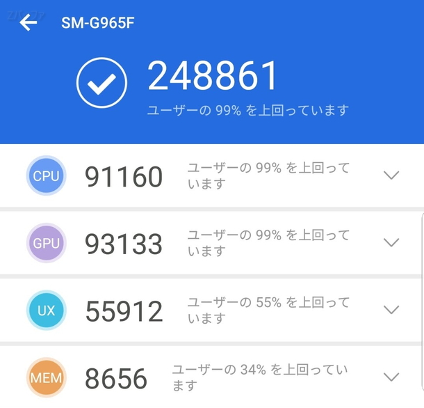 Galaxy S9+をAntutu benchmarkで測定した結果