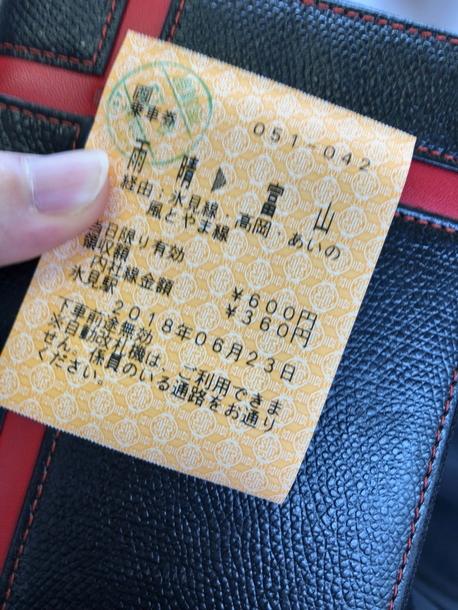 雨晴駅で購入した富山行きの切符