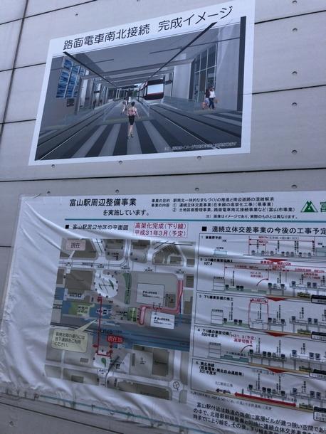 富山駅の路面電車南北接続イメージ