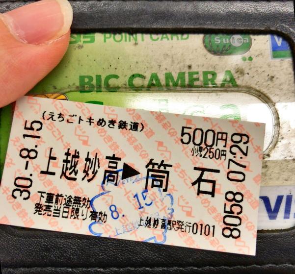 筒石駅までの切符