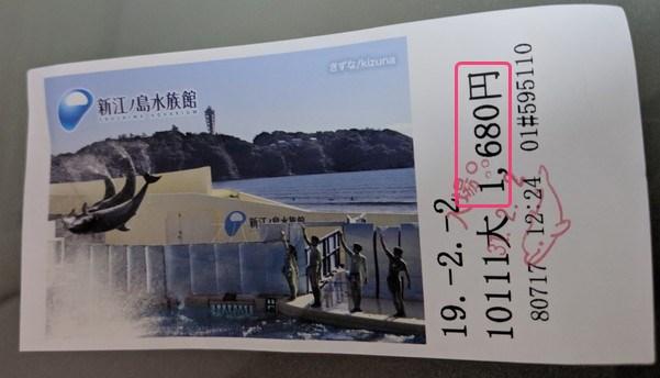 30%割引価格で購入した新江ノ島水族館の入館チケット