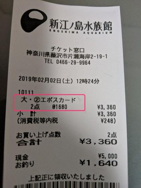 エポスカードの特典価格で購入した新江ノ島水族館のチケット