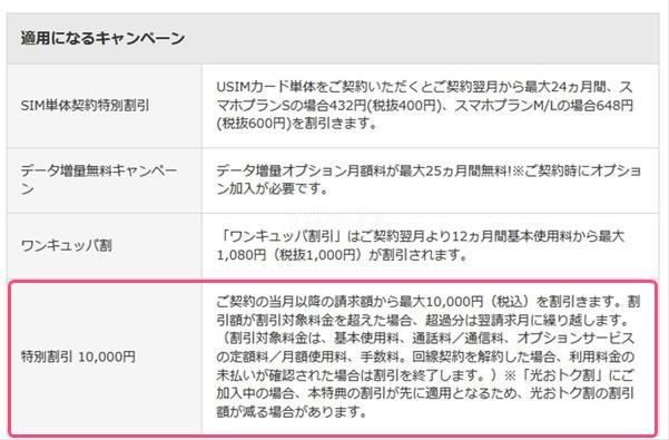 ワイモバイルの音声通話SIM単体契約で特別1万円割引が追加