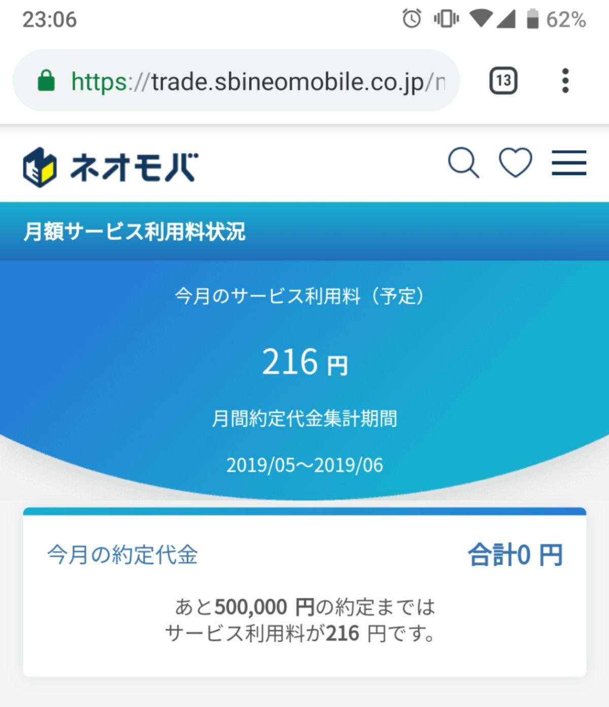 SBIネオモバイル証券は毎月手数料がかかる
