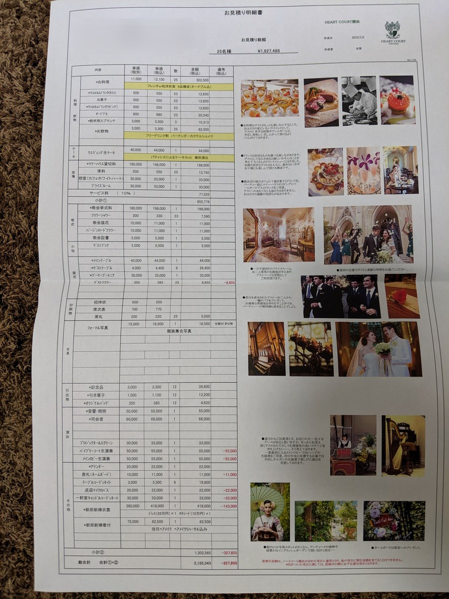 ハートコート横浜の結婚式費用見積書