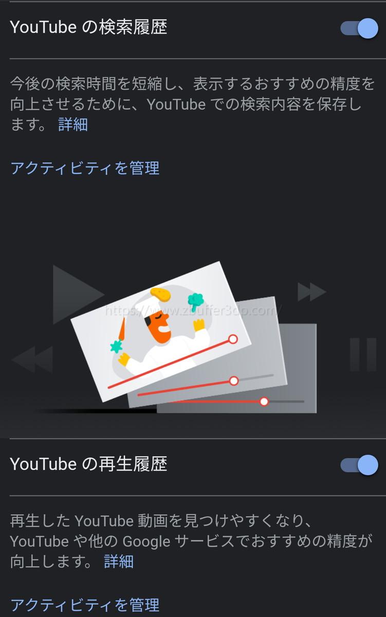 YouTubeの検索履歴及び再生履歴情報