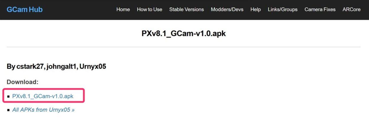GCamアプリのAPKをダウンロード